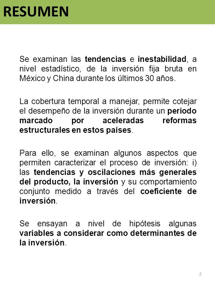 RESUMEN Se examinan las tendencias e inestabilidad, a nivel estadístico, de la inversión fija bruta en México y China durante los últimos 30 años. La