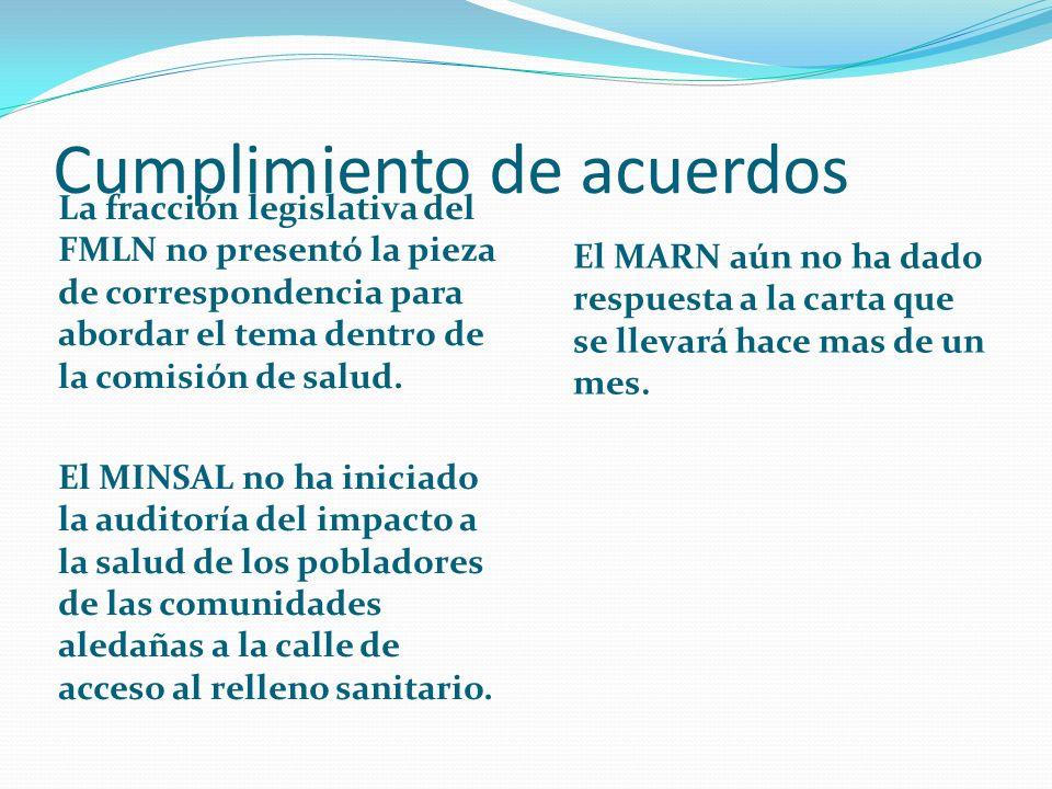 Cumplimiento de acuerdos La fracción legislativa del FMLN no presentó la pieza de correspondencia para abordar el tema dentro de la comisión de salud.