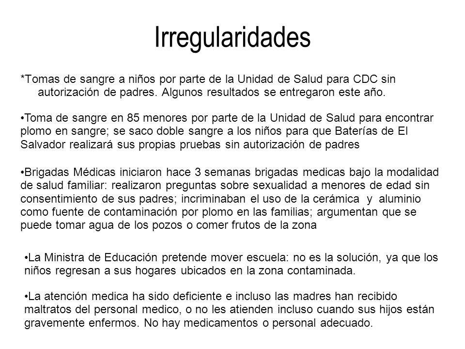 Irregularidades *Tomas de sangre a niños por parte de la Unidad de Salud para CDC sin autorización de padres. Algunos resultados se entregaron este añ