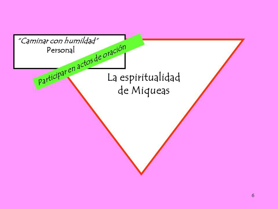 6 Caminar con humildad Personal La espiritualidad de Miqueas Participar en actos de oración