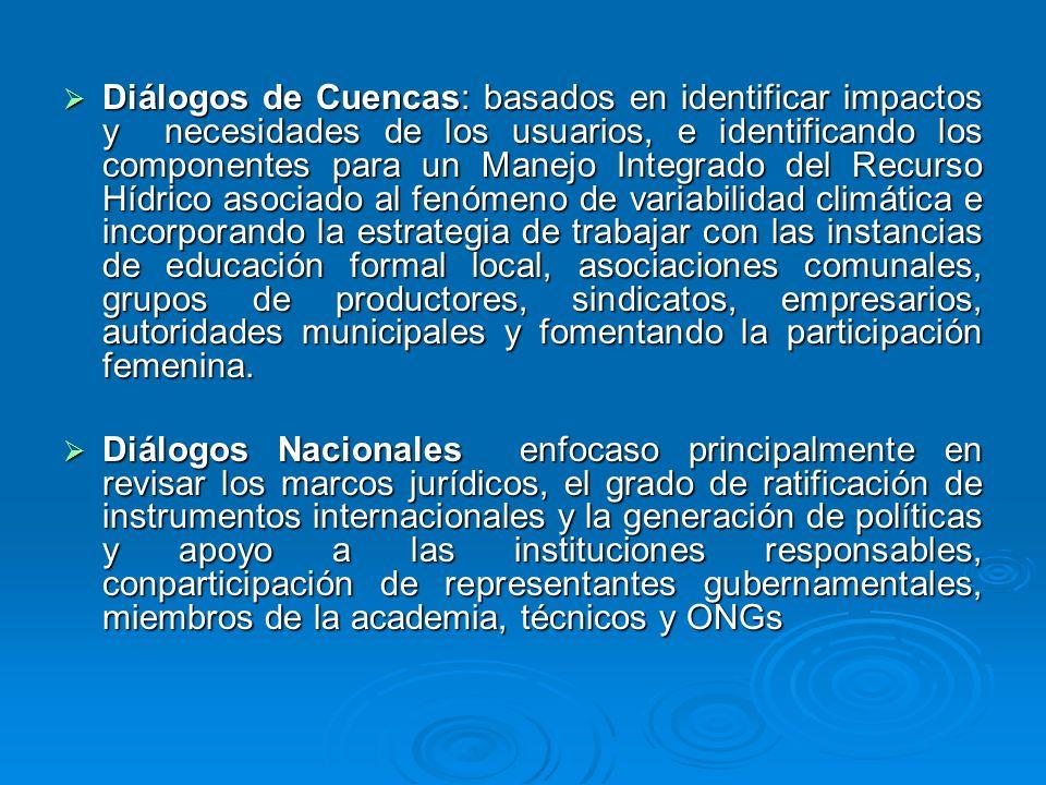 Diálogos de Cuencas: basados en identificar impactos y necesidades de los usuarios, e identificando los componentes para un Manejo Integrado del Recur