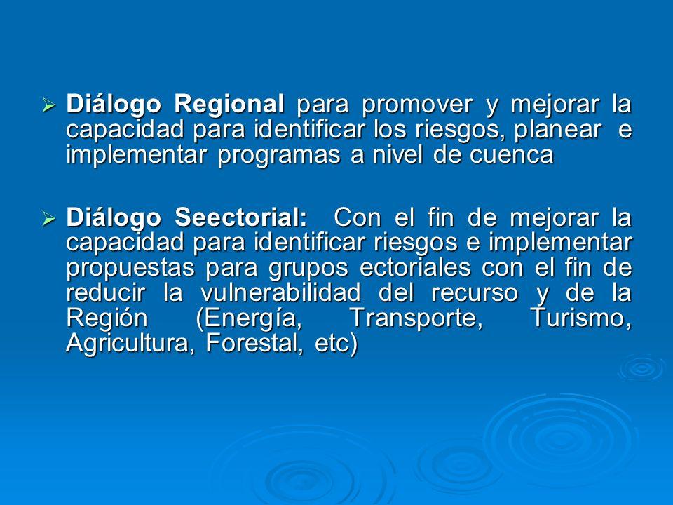 Diálogo Regional para promover y mejorar la capacidad para identificar los riesgos, planear e implementar programas a nivel de cuenca Diálogo Regional