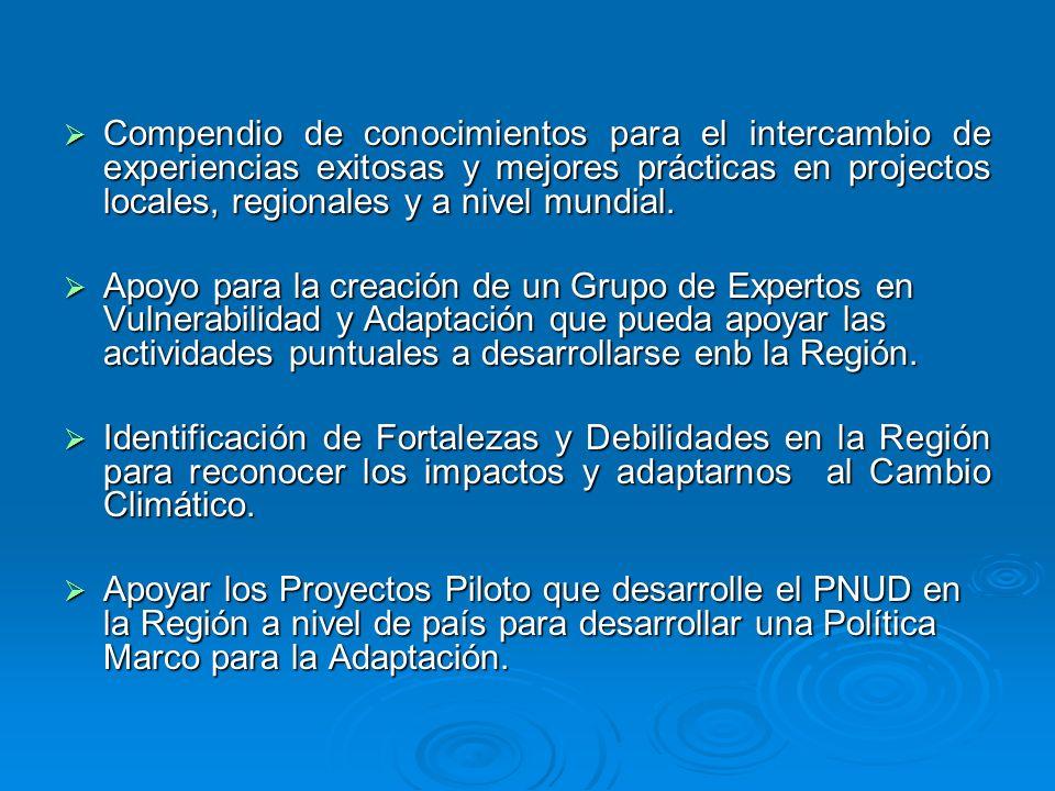 Compendio de conocimientos para el intercambio de experiencias exitosas y mejores prácticas en projectos locales, regionales y a nivel mundial. Compen
