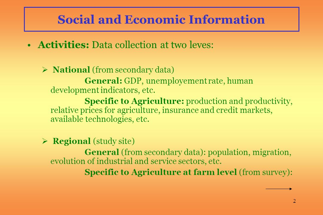 2 Social and Economic Information Activities: Data collection at two leves: National (from secondary data) General: GDP, unemployement rate, human development indicators, etc.