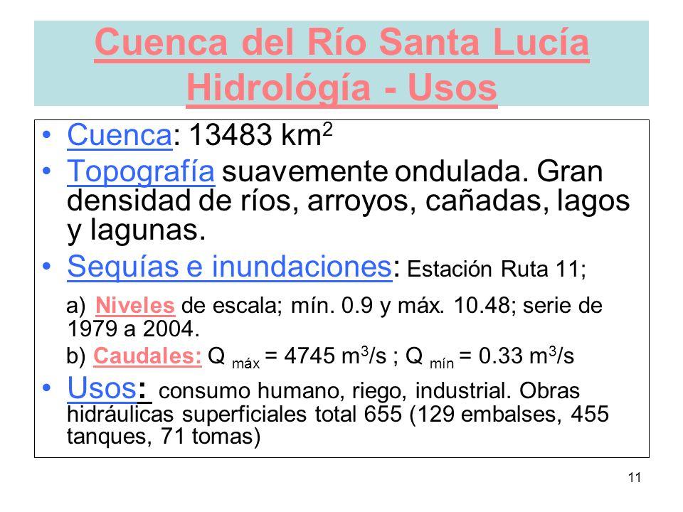 11 Cuenca del Río Santa Lucía Hidrológía - Usos Cuenca: 13483 km 2 Topografía suavemente ondulada.