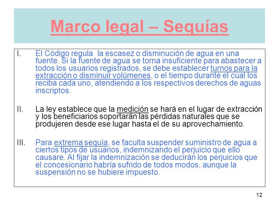 12 Marco legal – Sequías I.El Código regula la escasez o disminución de agua en una fuente.