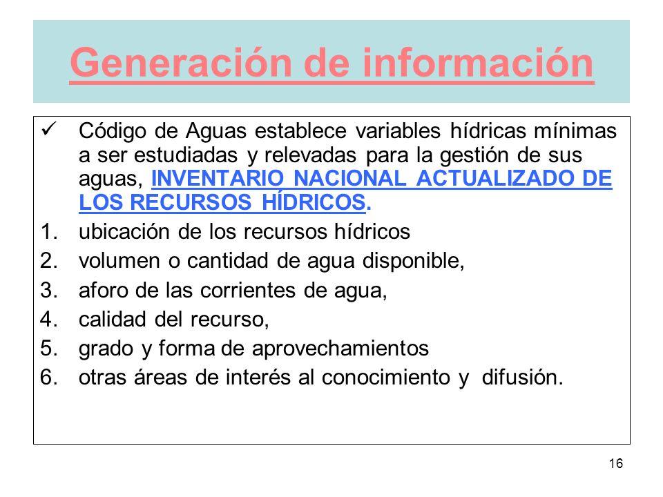 16 Generación de información Código de Aguas establece variables hídricas mínimas a ser estudiadas y relevadas para la gestión de sus aguas, INVENTARIO NACIONAL ACTUALIZADO DE LOS RECURSOS HÍDRICOS.