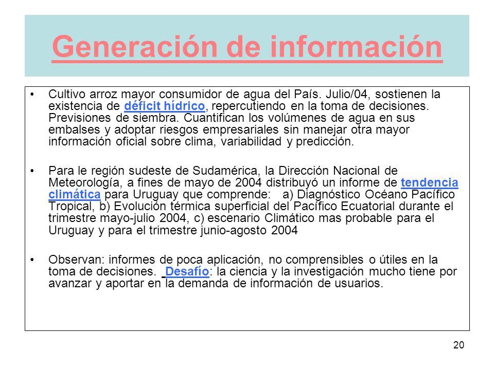 20 Generación de información Cultivo arroz mayor consumidor de agua del País.