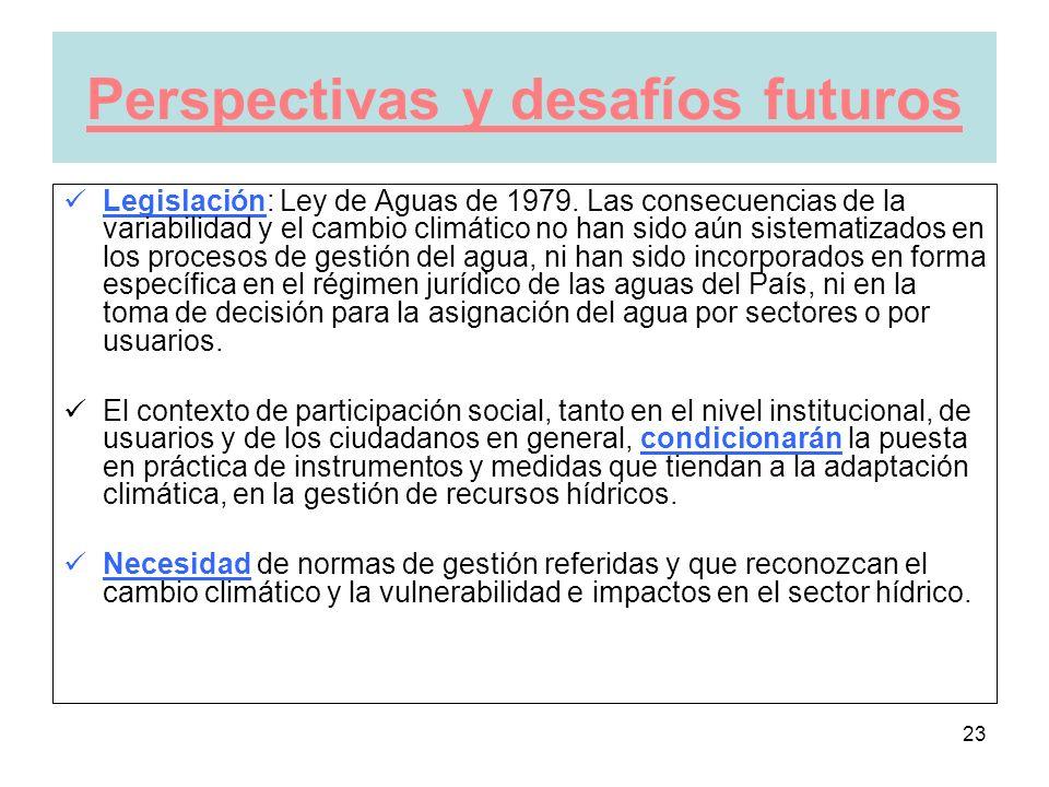 23 Perspectivas y desafíos futuros Legislación: Ley de Aguas de 1979.
