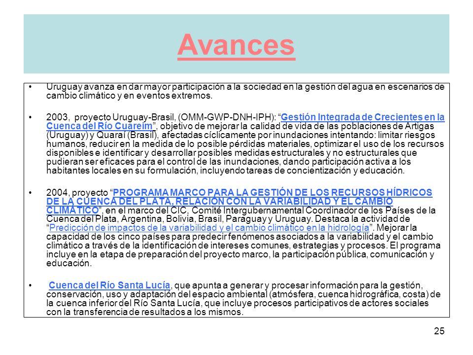 25 Avances Uruguay avanza en dar mayor participación a la sociedad en la gestión del agua en escenarios de cambio climático y en eventos extremos.
