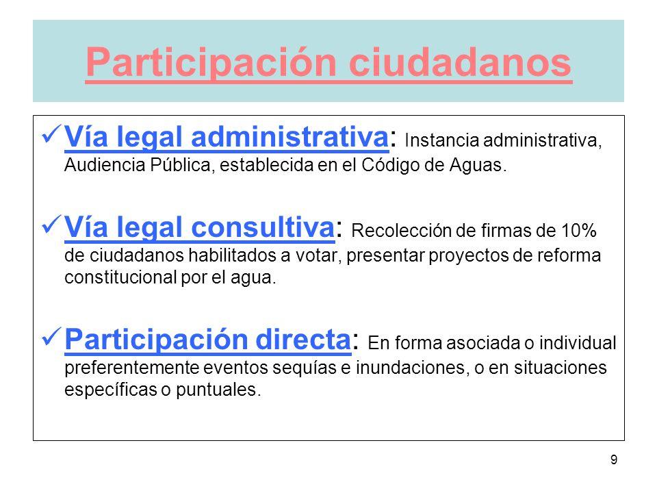 9 Participación ciudadanos Vía legal administrativa: Instancia administrativa, Audiencia Pública, establecida en el Código de Aguas.