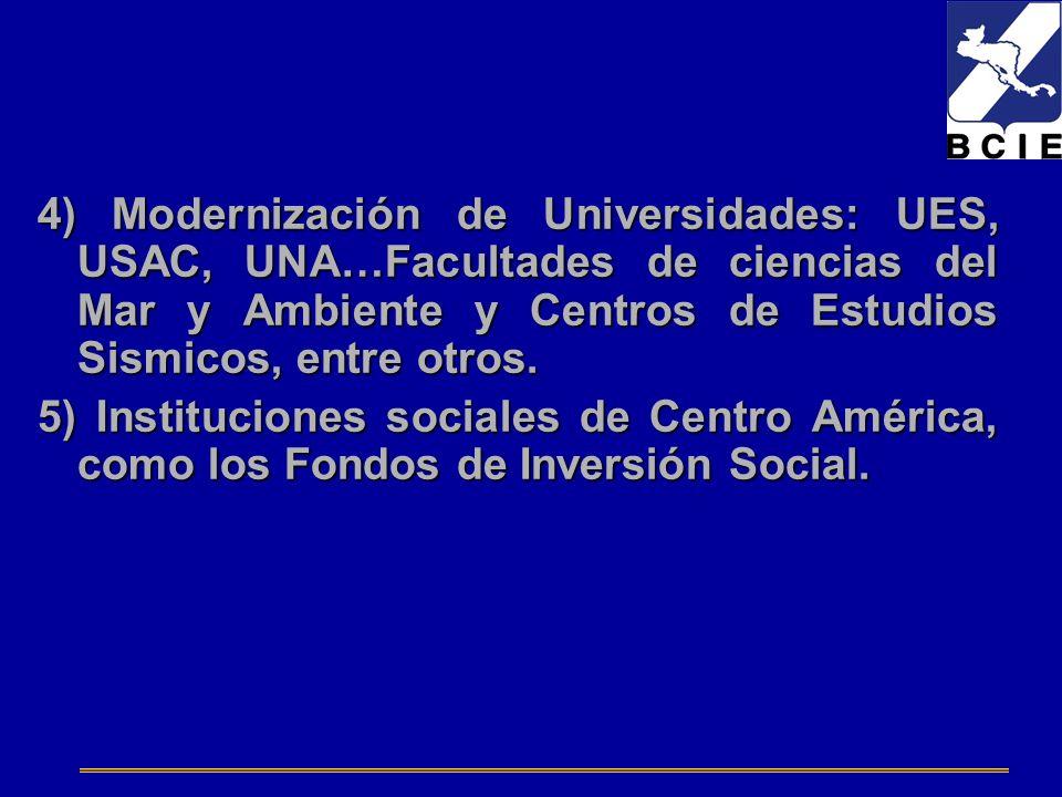 4) Modernización de Universidades: UES, USAC, UNA…Facultades de ciencias del Mar y Ambiente y Centros de Estudios Sismicos, entre otros. 5) Institucio