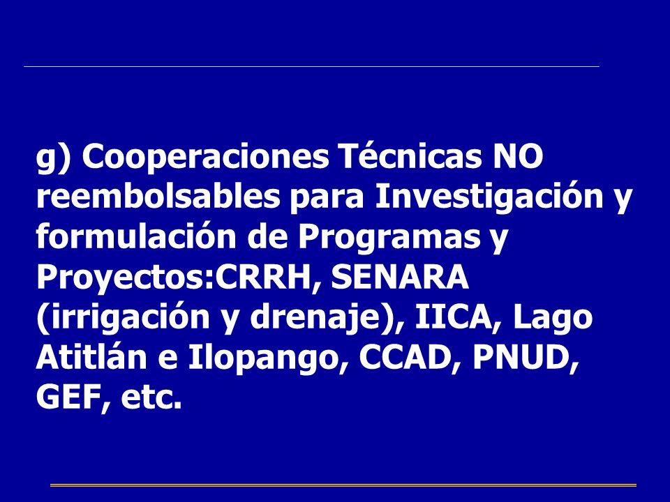 g) Cooperaciones Técnicas NO reembolsables para Investigación y formulación de Programas y Proyectos:CRRH, SENARA (irrigación y drenaje), IICA, Lago A