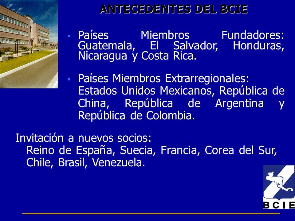 ANTECEDENTES DEL BCIE Países Miembros Fundadores: Guatemala, El Salvador, Honduras, Nicaragua y Costa Rica. Países Miembros Extrarregionales: Estados