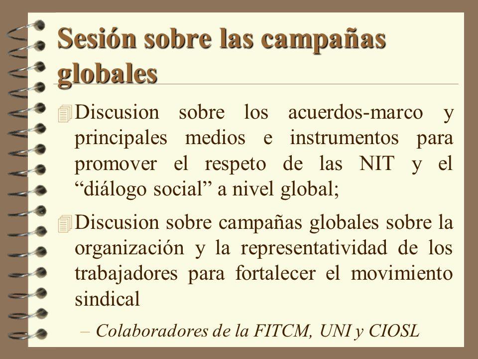 Sesión sobre las campañas globales 4 Discusion sobre los acuerdos-marco y principales medios e instrumentos para promover el respeto de las NIT y el d