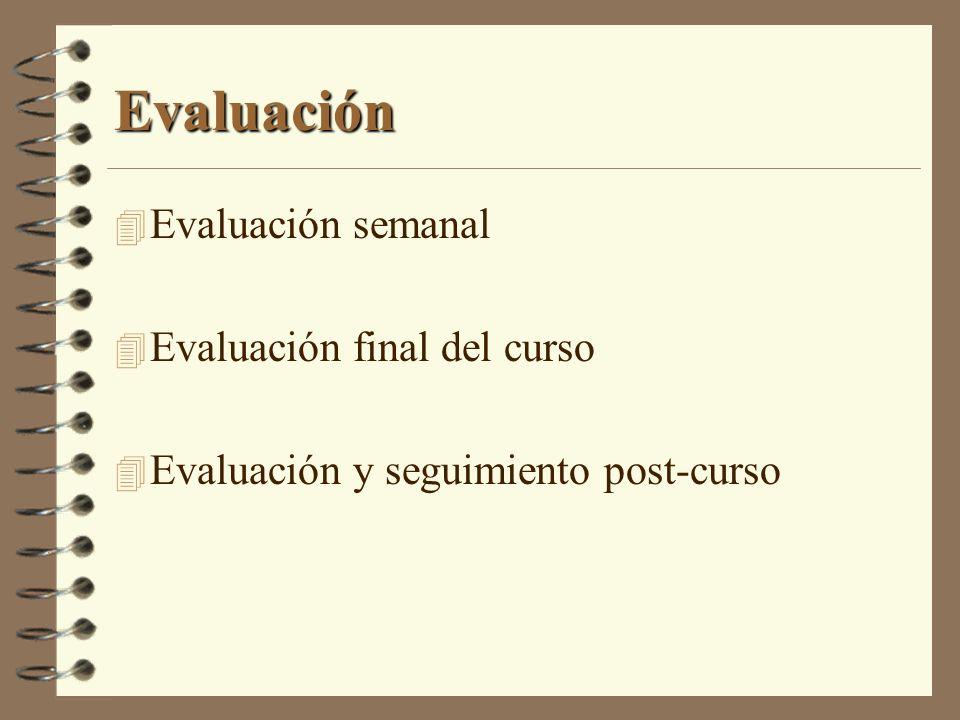Evaluación 4 Evaluación semanal 4 Evaluación final del curso 4 Evaluación y seguimiento post-curso