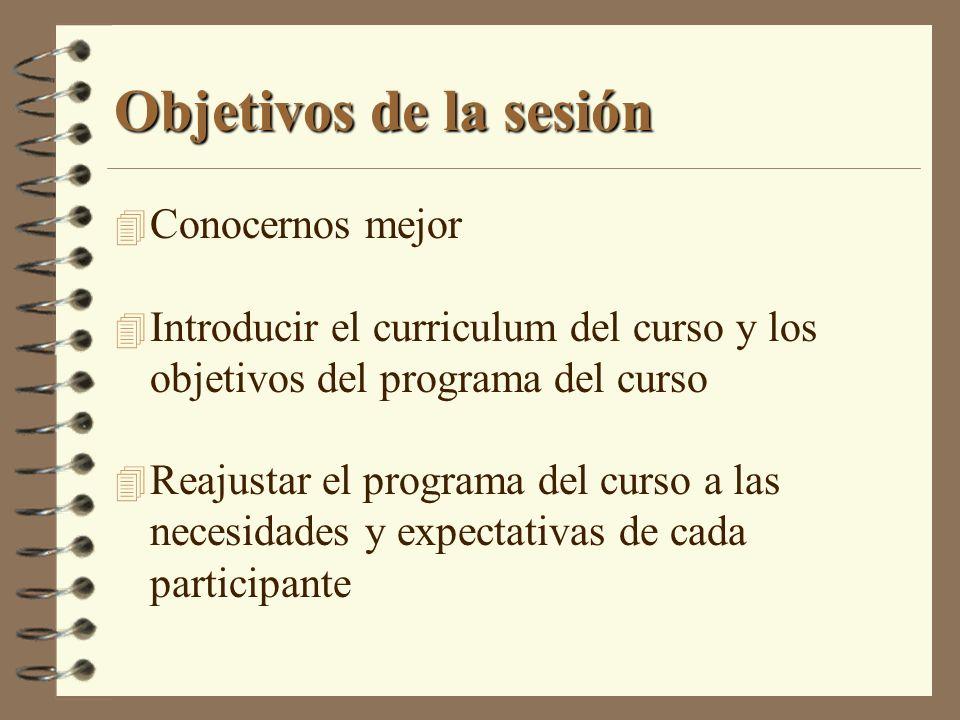 Objetivos de la sesión 4 Conocernos mejor 4 Introducir el curriculum del curso y los objetivos del programa del curso 4 Reajustar el programa del curs