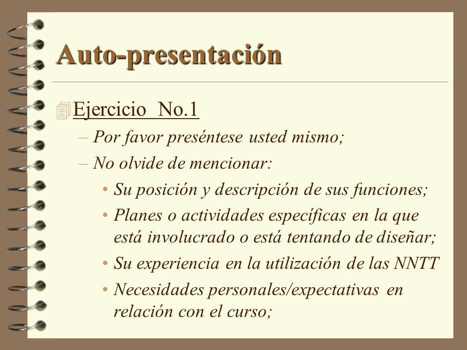 Auto-presentación 4 Ejercicio No.1 –Por favor preséntese usted mismo; –No olvide de mencionar: Su posición y descripción de sus funciones; Planes o ac