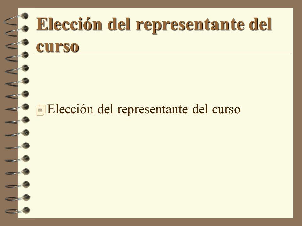 Elección del representante del curso 4 Elección del representante del curso