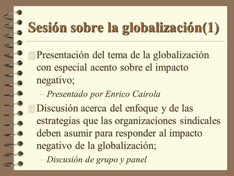 Sesión sobre la globalización (2) 4 Ejercicio No.3 –Discusión en pequeños grupos sobre el impacto de la globalización sobre los SPIs –La discusión estará focalizada en: Diferencias en el impacto de la globalización; Comparación entre las políticas y actividades que se realizar para enfrentar la globalización; y Medidas que pueden ser consideradas de mayor eficacia