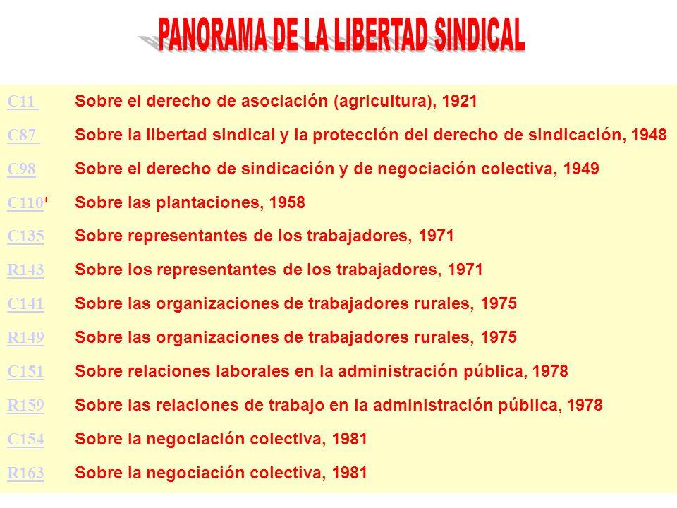 C11 C11 Sobre el derecho de asociación (agricultura), 1921 C87 C87 Sobre la libertad sindical y la protección del derecho de sindicación, 1948 C98 C98