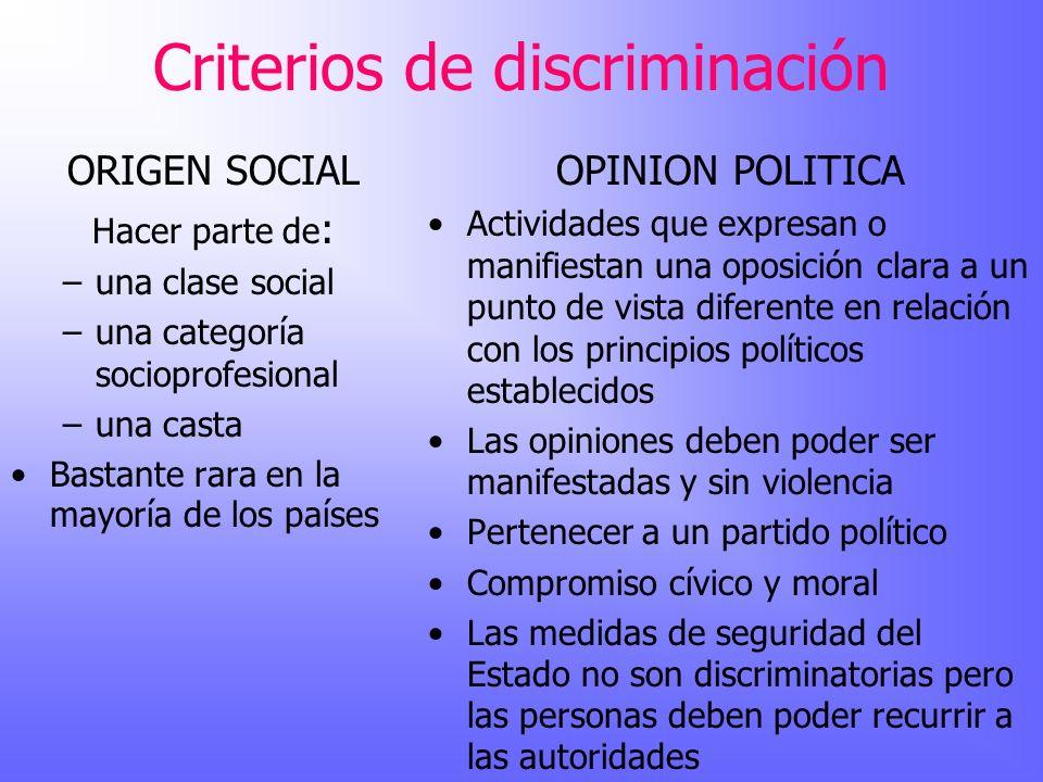 Criterios de discriminación ORIGEN SOCIAL Hacer parte de : –una clase social –una categoría socioprofesional –una casta Bastante rara en la mayoría de