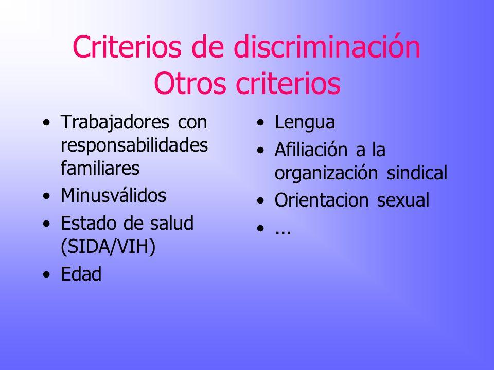 Criterios de discriminación Otros criterios Trabajadores con responsabilidades familiares Minusválidos Estado de salud (SIDA/VIH) Edad Lengua Afiliaci