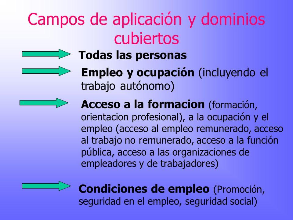 Campos de aplicación y dominios cubiertos Todas las personas Empleo y ocupación (incluyendo el trabajo autónomo) Acceso a la formacion (formación, ori