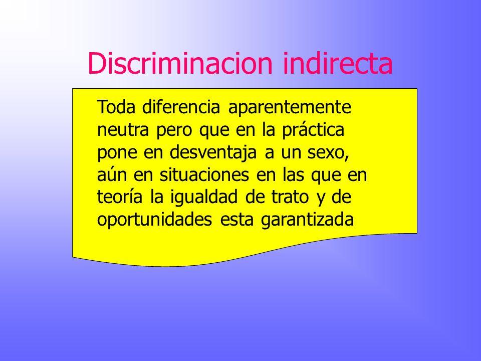 Discriminacion indirecta Toda diferencia aparentemente neutra pero que en la práctica pone en desventaja a un sexo, aún en situaciones en las que en t