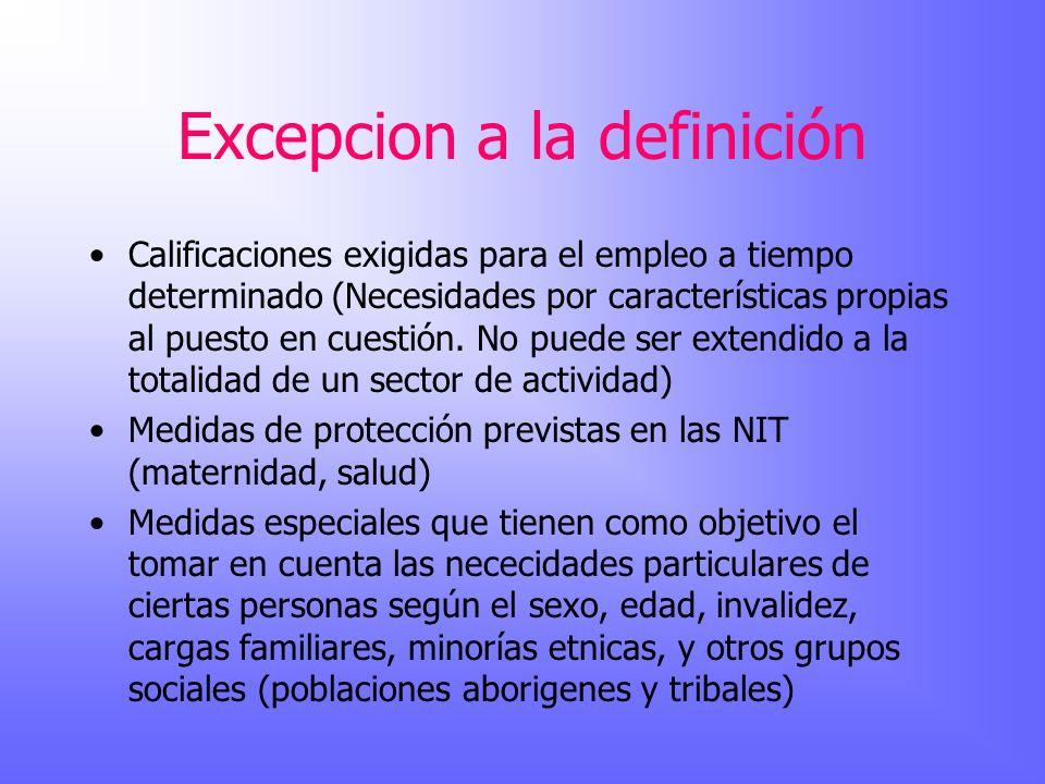 Excepcion a la definición Calificaciones exigidas para el empleo a tiempo determinado (Necesidades por características propias al puesto en cuestión.