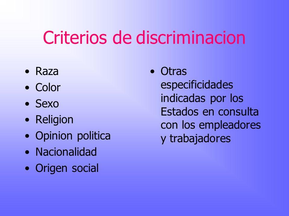 Criterios de discriminacion Raza Color Sexo Religion Opinion politica Nacionalidad Origen social Otras especificidades indicadas por los Estados en co
