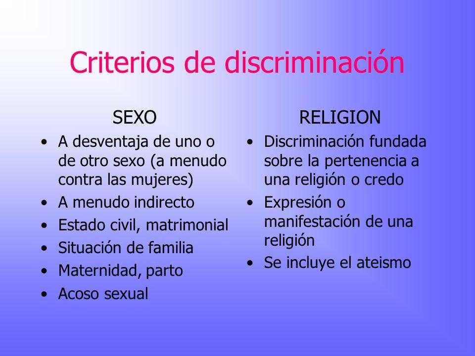 Criterios de discriminación SEXO A desventaja de uno o de otro sexo (a menudo contra las mujeres) A menudo indirecto Estado civil, matrimonial Situaci