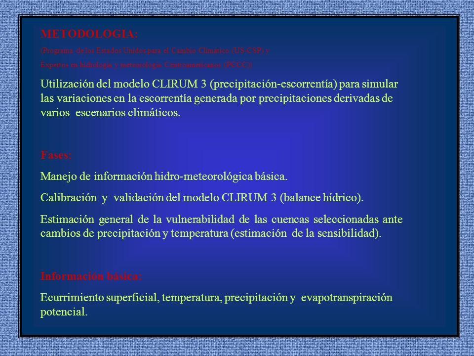 METODOLOGIA: (Programa de los Estados Unidos para el Cambio Climático (US-CSP) y Expertos en hidrología y meteorología Centroamericanos (PCCC)) Utilización del modelo CLIRUM 3 (precipitación-escorrentía) para simular las variaciones en la escorrentía generada por precipitaciones derivadas de varios escenarios climáticos.