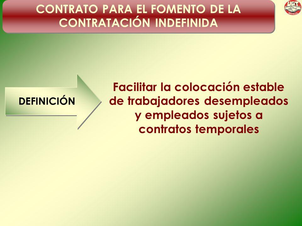 CONTRATO PARA EL FOMENTO DE LA CONTRATACIÓN INDEFINIDA DEFINICIÓN Facilitar la colocación estable de trabajadores desempleados y empleados sujetos a contratos temporales