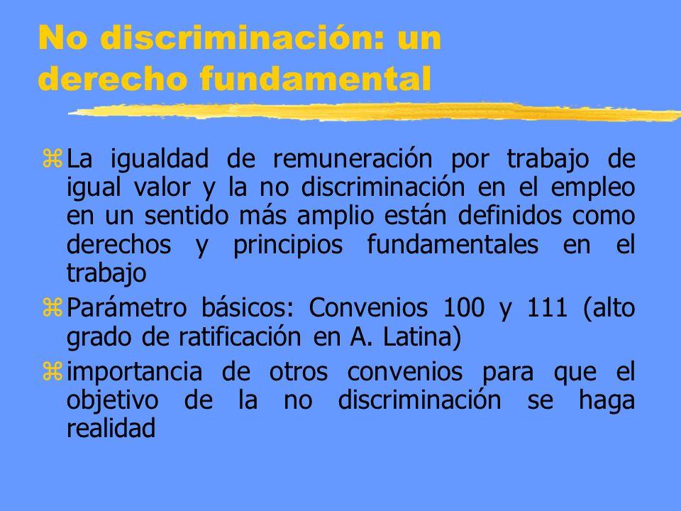 No discriminación: un derecho fundamental z La igualdad de remuneración por trabajo de igual valor y la no discriminación en el empleo en un sentido más amplio están definidos como derechos y principios fundamentales en el trabajo z Parámetro básicos: Convenios 100 y 111 (alto grado de ratificación en A.
