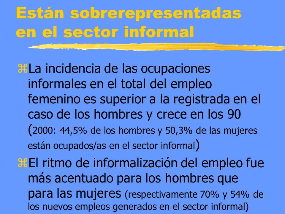 Están sobrerepresentadas en el sector informal zLa incidencia de las ocupaciones informales en el total del empleo femenino es superior a la registrada en el caso de los hombres y crece en los 90 ( 2000: 44,5% de los hombres y 50,3% de las mujeres están ocupados/as en el sector informal ) zEl ritmo de informalización del empleo fue más acentuado para los hombres que para las mujeres (respectivamente 70% y 54% de los nuevos empleos generados en el sector informal)