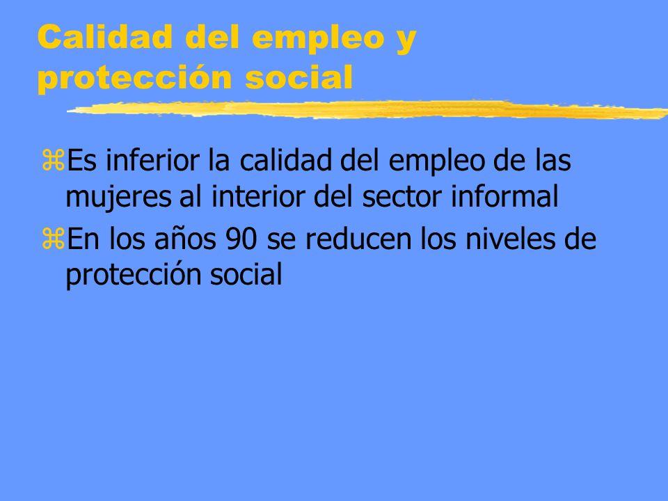 Calidad del empleo y protección social zEs inferior la calidad del empleo de las mujeres al interior del sector informal zEn los años 90 se reducen los niveles de protección social