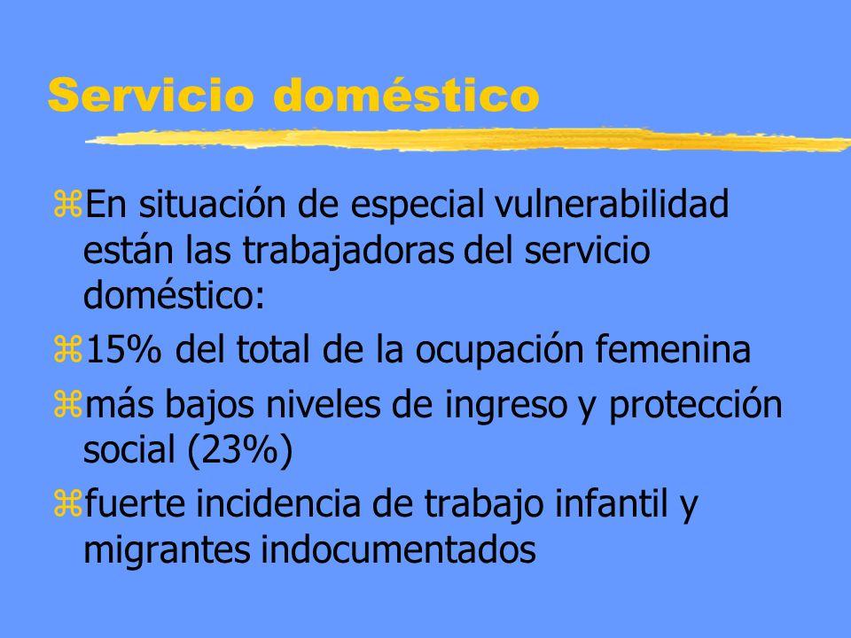 Servicio doméstico zEn situación de especial vulnerabilidad están las trabajadoras del servicio doméstico: z15% del total de la ocupación femenina zmás bajos niveles de ingreso y protección social (23%) zfuerte incidencia de trabajo infantil y migrantes indocumentados