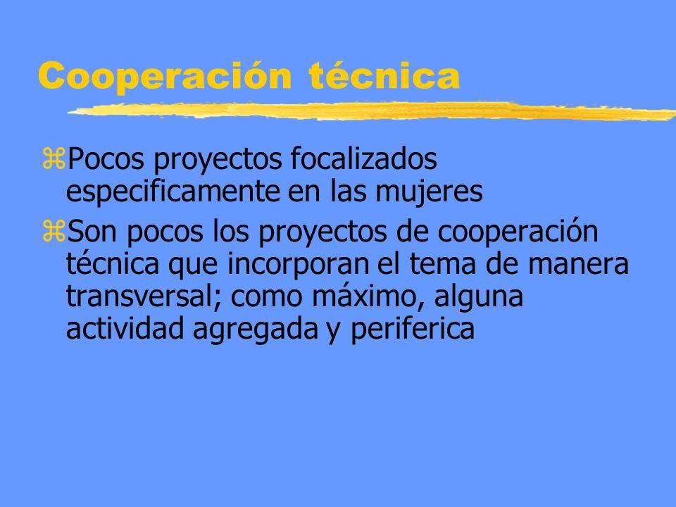 Cooperación técnica zPocos proyectos focalizados especificamente en las mujeres zSon pocos los proyectos de cooperación técnica que incorporan el tema de manera transversal; como máximo, alguna actividad agregada y periferica
