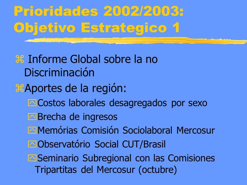 Prioridades 2002/2003: Objetivo Estrategico 1 z Informe Global sobre la no Discriminación zAportes de la región: yCostos laborales desagregados por sexo yBrecha de ingresos yMemórias Comisión Sociolaboral Mercosur yObservatório Social CUT/Brasil ySeminario Subregional con las Comisiones Tripartitas del Mercosur (octubre)