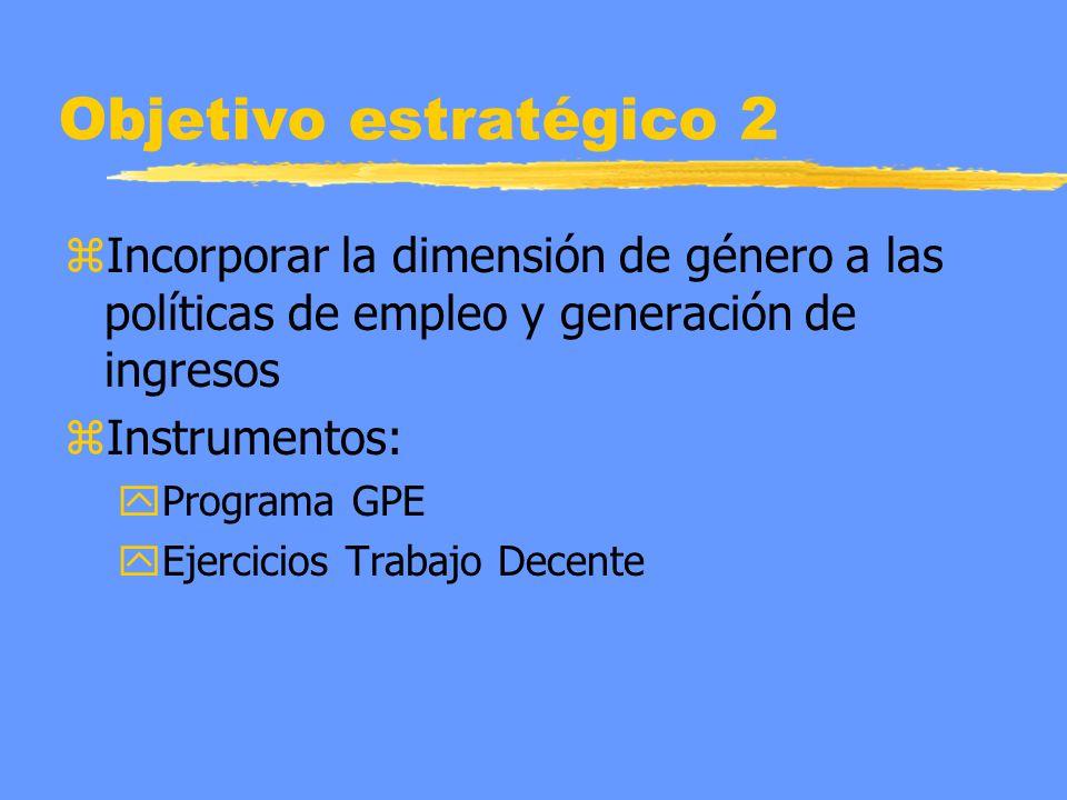 Objetivo estratégico 2 zIncorporar la dimensión de género a las políticas de empleo y generación de ingresos zInstrumentos: yPrograma GPE yEjercicios Trabajo Decente