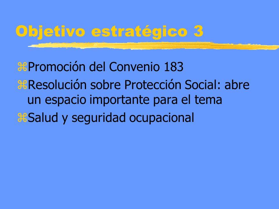 Objetivo estratégico 3 zPromoción del Convenio 183 zResolución sobre Protección Social: abre un espacio importante para el tema zSalud y seguridad ocupacional