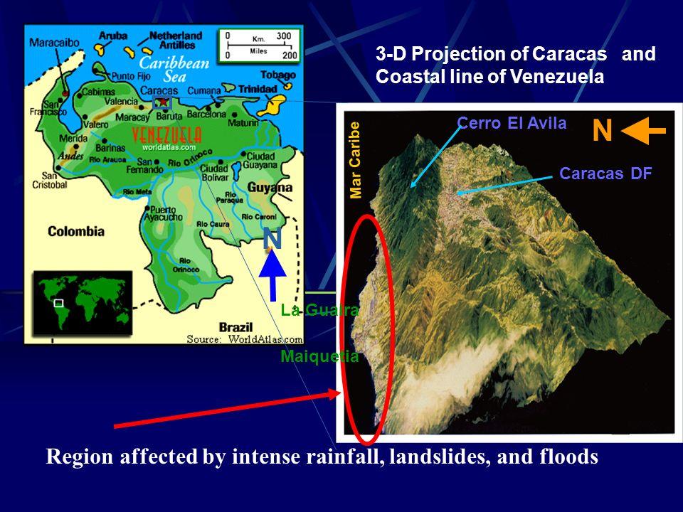 Mar Caribe N Caracas DF Cerro El Avila 3-D Projection of Caracas and Coastal line of Venezuela La Guaira Maiquetia Region affected by intense rainfall, landslides, and floods N