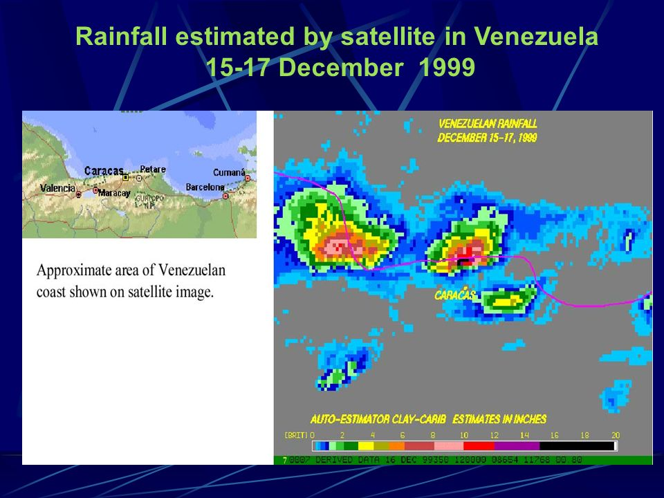 Rainfall estimated by satellite in Venezuela 15-17 December 1999