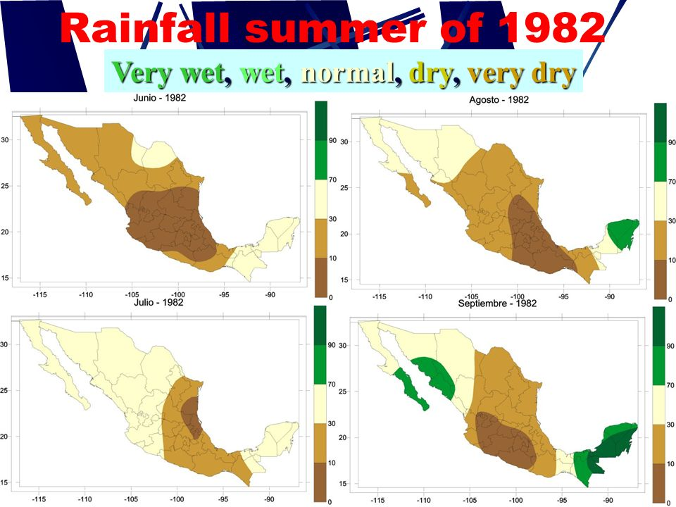 Rainfall summer of 1982 Very wet, wet, normal, dry, very dry