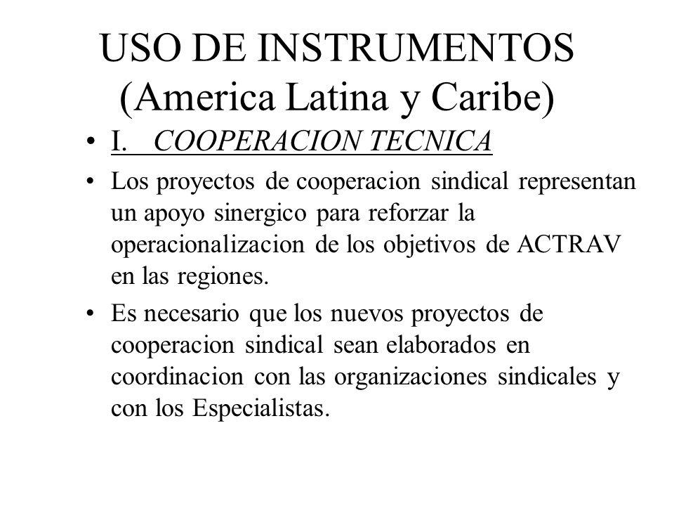 USO DE INSTRUMENTOS (America Latina y Caribe) I.COOPERACION TECNICA Los proyectos de cooperacion sindical representan un apoyo sinergico para reforzar la operacionalizacion de los objetivos de ACTRAV en las regiones.