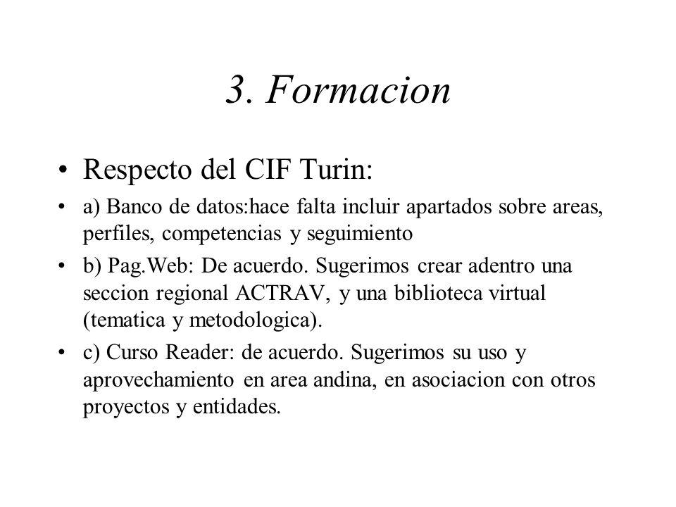 3. Formacion Respecto del CIF Turin: a) Banco de datos:hace falta incluir apartados sobre areas, perfiles, competencias y seguimiento b) Pag.Web: De a