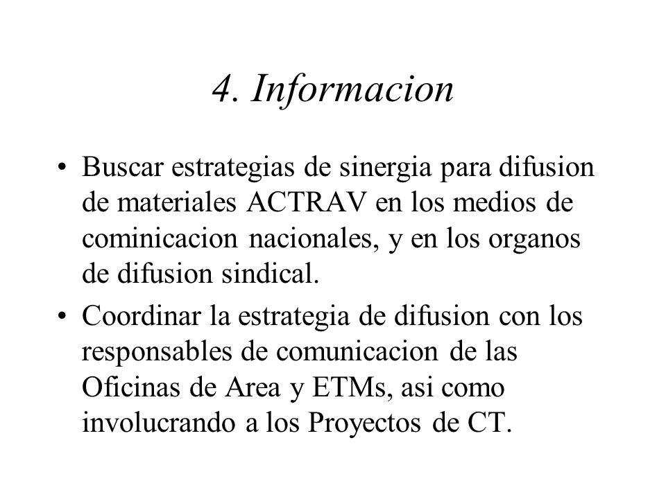 4. Informacion Buscar estrategias de sinergia para difusion de materiales ACTRAV en los medios de cominicacion nacionales, y en los organos de difusio