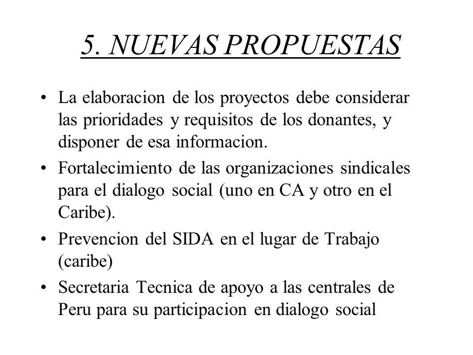 5. NUEVAS PROPUESTAS La elaboracion de los proyectos debe considerar las prioridades y requisitos de los donantes, y disponer de esa informacion. Fort