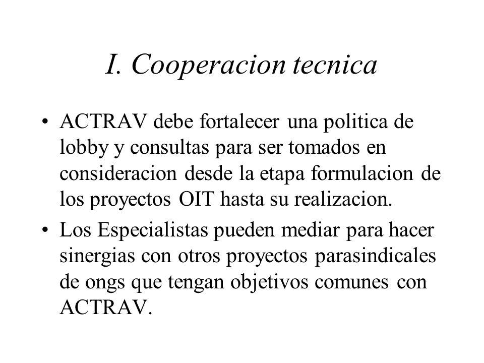 I. Cooperacion tecnica ACTRAV debe fortalecer una politica de lobby y consultas para ser tomados en consideracion desde la etapa formulacion de los pr